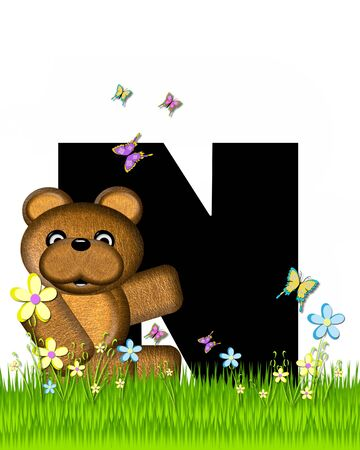 grassy field: The letter N, in the alphabet set Teddy Butterfly Field, is black.  Teddy bear chases colorful butterflies across a grassy field with wildflowers. Stock Photo