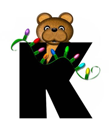 teddy bear christmas: The letter K, in the alphabet set Teddy Christmas Lights, is black. Teddy Bear holds a string of Christmas lights and decorates letter.