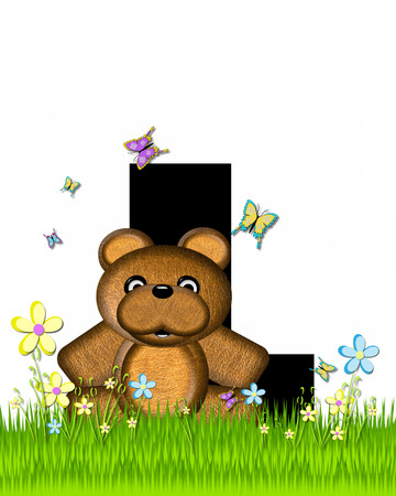 The letter L, in the alphabet set Teddy Butterfly Field, is black.  Teddy bear chases colorful butterflies across a grassy field with wildflowers.