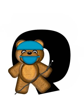 checkup: The letter Q, in the alphabet set Teddy Dental Checkup, is black.  Teddy bear wearing a dental mask and hat represents dentist holding various dental tools.