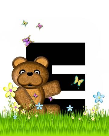 grassy field: The letter E, in the alphabet set Teddy Butterfly Field, is black.  Teddy bear chases colorful butterflies across a grassy field with wildflowers.
