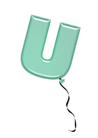 The letter U, in the alphabet set Balloon Jewels, resembles an inflated balloon tied at the knot with a black curly string.  Letters, in set, come in a mixture of colors and tilting angles.