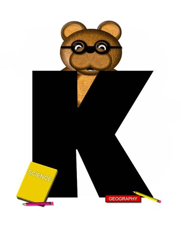 The letter K, in the alphabet set Teddy Learning, is black. Teddy bear decorates letter and he is wearing glasses.  Books and pencils surround him.