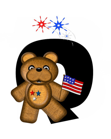 independance day: The letter Q, in the alphabet set Teddy 4th of July, is black.  Brown teddy bear holds American flag.  Fireworks in red, white and blue explode around him. Stock Photo