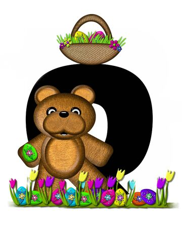 easter egg hunt: The letter Q, in the alphabet set Teddy Easter Egg Hunt, is black. Teddy hunts Easter Eggs hidden in the grass.  He has an Easter basket with eggs. Stock Photo