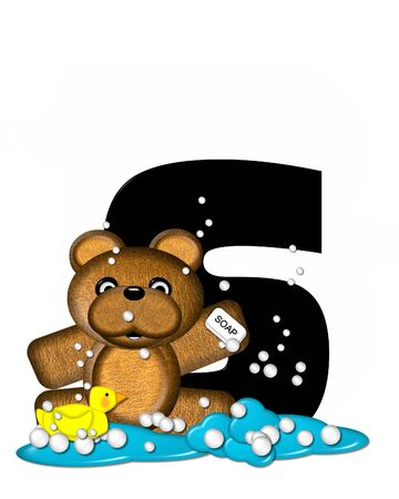 bathtime: The letter S, in the alphabet set Teddy Bath Time, is black and sits on a pool of spilled bath water.  Brown teddy bear, bubbles and yellow duck decorate letter. Stock Photo