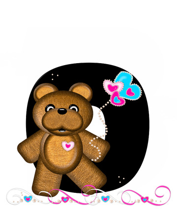 cutie: The letter O, in the alphabet set Teddy Valentines Cutie, is black.  Brown teddy bear holds heart shaped balloons in pink and blue.  String of pearls serve as string. Stock Photo