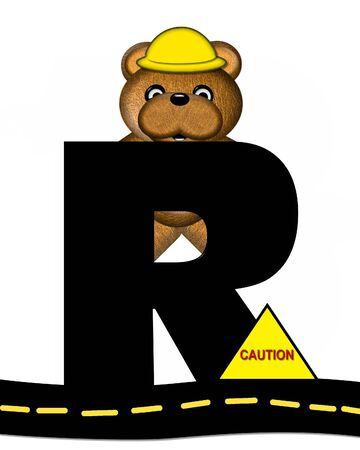 highway signs: The letter R, in the alphabet set Teddy Highway Work, is black and sits on black highway. Teddy bear, hard hat, and highway signs decorate letter.