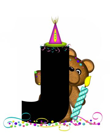 The letter J, in the alphabet set Teddy Party Time, is black.  Teddy bear, party hat, candle and confetti decorate letter. Stock fotó