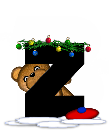 boughs: The letter Z, in the alphabet set Teddy Christmas Boughs, is black and sits on pile of snow.  Teddy Bear wearing cap and mittens, decorates letter with Christmas boughs and ornaments.
