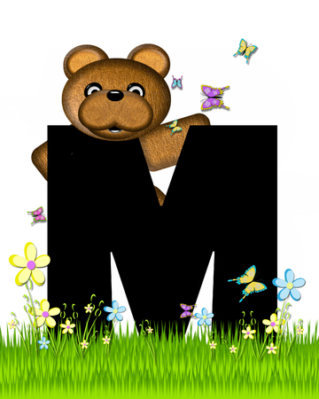 The letter M, in the alphabet set Teddy Butterfly Field, is black.  Teddy bear chases colorful butterflies across a grassy field with wildflowers. Stock Photo