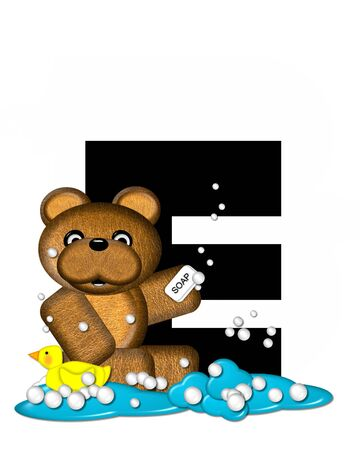 bath time: The letter E, in the alphabet set Teddy Bath Time, is black and sits on a pool of spilled bath water.  Brown teddy bear, bubbles and yellow duck decorate letter.
