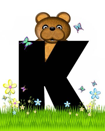 The letter K, in the alphabet set Teddy Butterfly Field, is black.  Teddy bear chases colorful butterflies across a grassy field with wildflowers.