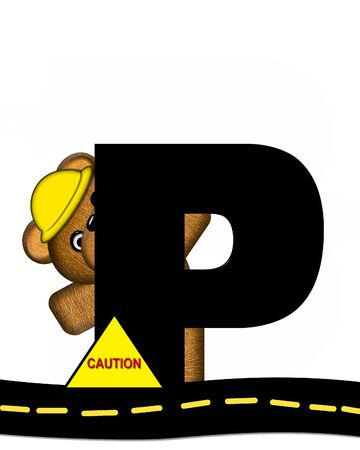 highway signs: The letter P, in the alphabet set Teddy Highway Work, is black and sits on black highway. Teddy bear, hard hat, and highway signs decorate letter.
