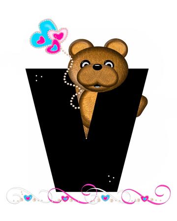 """""""Teddy Valentine 's Cutie""""라는 알파벳의 문자 V는 검은 색입니다. 갈색 곰 심장 모양의 풍선 핑크와 블루에 보유하고있다. 진주의 끈은 끈으로 봉"""