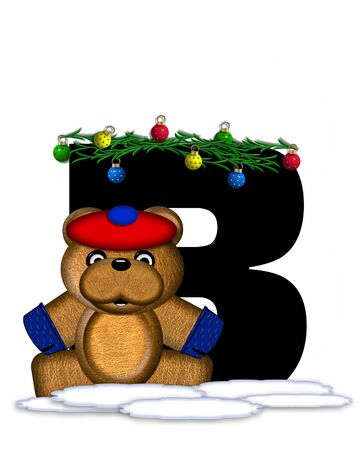 boughs: The letter B, in the alphabet set Teddy Christmas Boughs, is black and sits on pile of snow.  Teddy Bear wearing cap and mittens, decorates letter with Christmas boughs and ornaments. Stock Photo