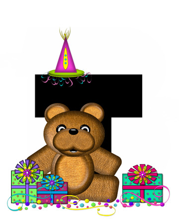 The letter T, in the alphabet set Teddy Birthday Surprise, is black.  Teddy bear, party hat, gifts and confetti decorate letter. Stock Photo