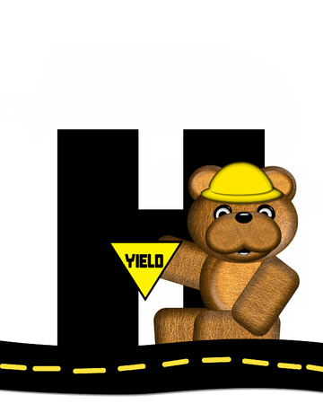highway signs: The letter H, in the alphabet set Teddy Highway Work, is black and sits on black highway. Teddy bear, hard hat, and highway signs decorate letter. Stock Photo