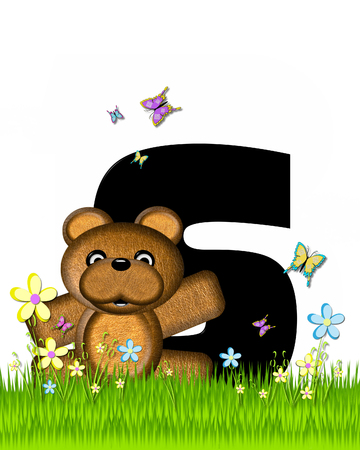 bear s: The letter S, in the alphabet set Teddy Butterfly Field, is black.  Teddy bear chases colorful butterflies across a grassy field with wildflowers. Stock Photo