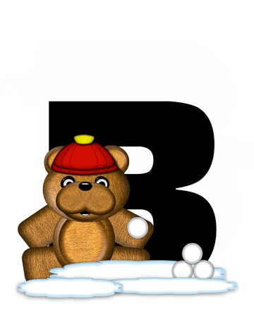 snow cap: The letter B, in the alphabet set Teddy Wintertime, is black. Teddy stands on snow making and throwing snowballs.  He is wearing a red cap.