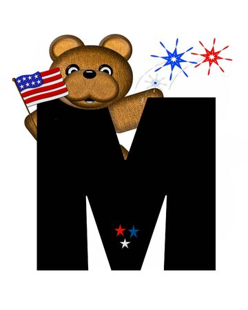 independance day: The letter M, in the alphabet set Teddy 4th of July, is black.  Brown teddy bear holds American flag.  Fireworks in red, white and blue explode around him.