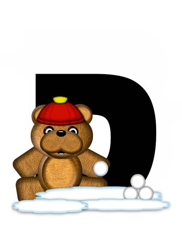 snow cap: The letter D, in the alphabet set Teddy Wintertime, is black. Teddy stands on snow making and throwing snowballs.  He is wearing a red cap. Stock Photo