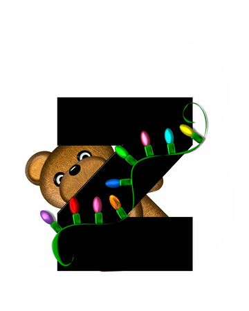 string of lights: The letter Z, in the alphabet set Teddy Christmas Lights, is black. Teddy Bear holds a string of Christmas lights and decorates letter. Stock Photo