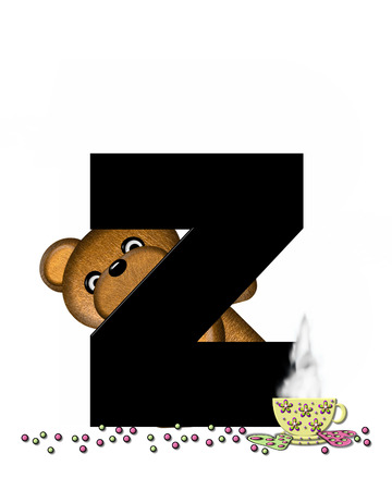 frosted: The letter Z, in the alphabet set Teddy Tea Time, is black.  Teddy bear enjoys a cup of hot tea with heart shaped and frosted cookies.  Candy sprinkles cover floor.