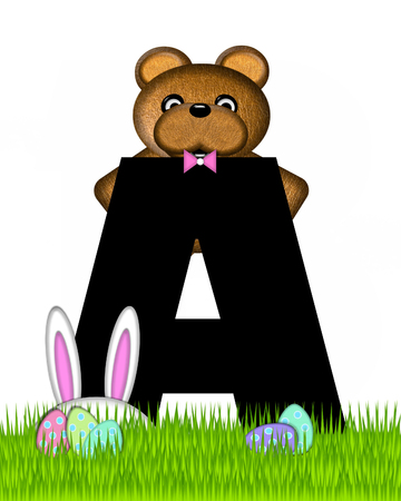The letter A, in the alphabet set Teddy Easter, is black. Teddy wears an Easter Rabbit costume and hunts Easter Eggs hidden in the grass. Stock Photo