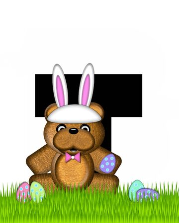 wears: The letter T, in the alphabet set Teddy Easter, is black. Teddy wears an Easter Rabbit costume and hunts Easter Eggs hidden in the grass.