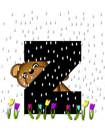 showers: The letter Z, in the alphabet set Teddy April Showers, is black.  Brown teddy bear and flowers decorate letter.  Tulips bloom as April showers fall.