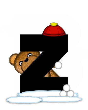 wintertime: The letter Z, in the alphabet set Teddy Wintertime, is black. Teddy stands on snow making and throwing snowballs.  He is wearing a red cap. Stock Photo