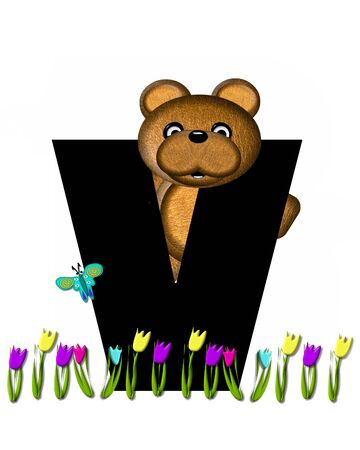 picking: The letter V, in the alphabet set Teddy Picking Flowers, is black.  Teddy bear picks tulips and butterfly flutters overhead. Stock Photo