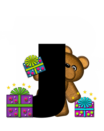 The letter J, in the alphabet set Teddy Gifts Galore, is black.  Teddy bear, gift wrapped packages and stars decorate letter.