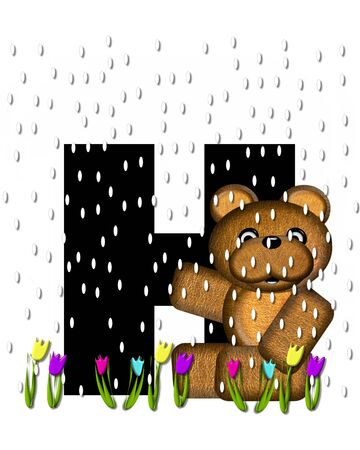 april showers: The letter H, in the alphabet set Teddy April Showers, is black.  Brown teddy bear and flowers decorate letter.  Tulips bloom as April showers fall. Stock Photo