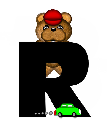 r transportation: The letter R, in the alphabet set Teddy Playing Cars, is black and is decorated with a teddy bear playing with colorful cars.  He is also wearing a red hat.