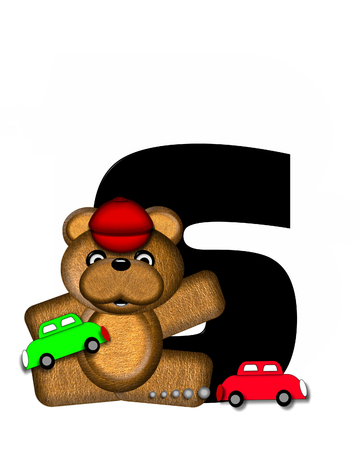 bear s: The letter S, in the alphabet set Teddy Playing Cars, is black and is decorated with a teddy bear playing with colorful cars.  He is also wearing a red hat.