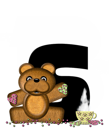 frosted: The letter S, in the alphabet set Teddy Tea Time, is black.  Teddy bear enjoys a cup of hot tea with heart shaped and frosted cookies.  Candy sprinkles cover floor.