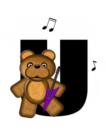 The letter U, in the alphabet set Teddy Guitar Music, is black.  Teddy bear, electric guitar and musical notes decorate letter.