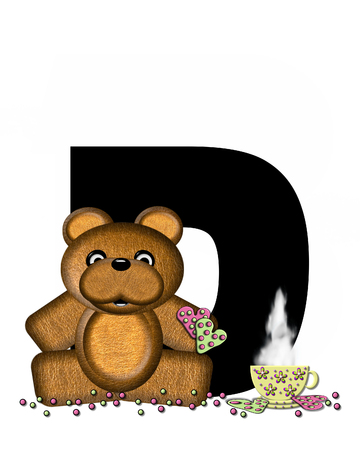 frosted: The letter D, in the alphabet set Teddy Tea Time, is black.  Teddy bear enjoys a cup of hot tea with heart shaped and frosted cookies.  Candy sprinkles cover floor.
