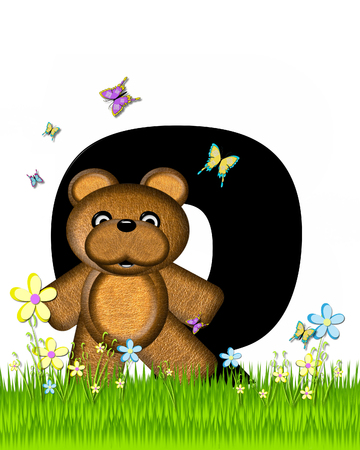 grassy field: The letter Q, in the alphabet set Teddy Butterfly Field, is black.  Teddy bear chases colorful butterflies across a grassy field with wildflowers.