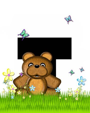 grassy field: The letter T, in the alphabet set Teddy Butterfly Field, is black.  Teddy bear chases colorful butterflies across a grassy field with wildflowers.