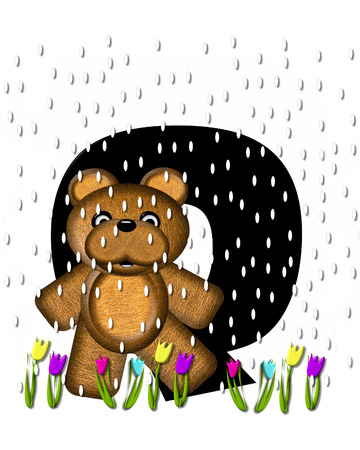 The letter Q, in the alphabet set Teddy April Showers, is black.  Brown teddy bear and flowers decorate letter.  Tulips bloom as April showers fall.