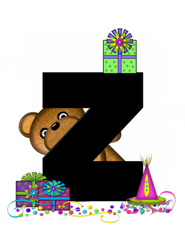 streamers: The letter Z, in the alphabet set Teddy Birthday Surprise, is black.  Teddy bear, party hat, gifts and confetti decorate letter.