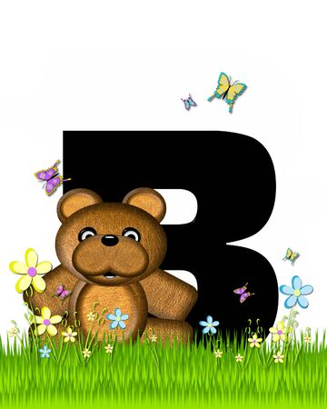 grassy field: The letter B, in the alphabet set Teddy Butterfly Field, is black.  Teddy bear chases colorful butterflies across a grassy field with wildflowers.
