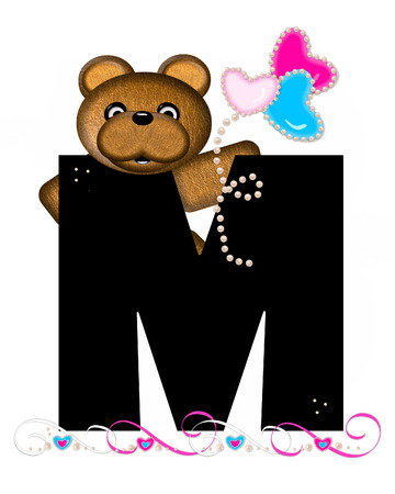 cutie: The letter M, in the alphabet set Teddy Valentines Cutie, is black.  Brown teddy bear holds heart shaped balloons in pink and blue.  String of pearls serve as string.