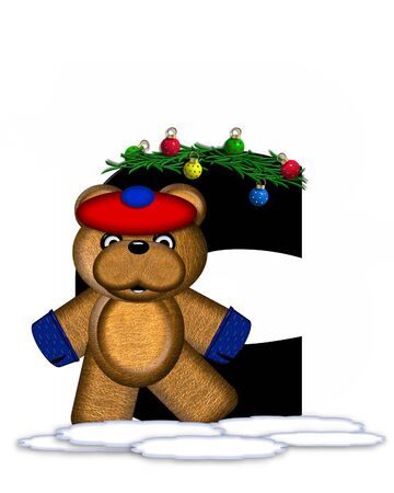 teddy bear christmas: The letter C, in the alphabet set Teddy Christmas Boughs, is black and sits on pile of snow.  Teddy Bear wearing cap and mittens, decorates letter with Christmas boughs and ornaments.