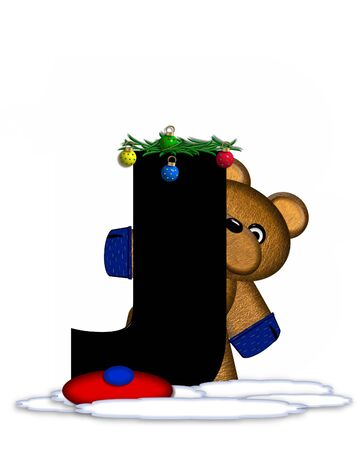 teddy bear christmas: The letter J, in the alphabet set Teddy Christmas Boughs, is black and sits on pile of snow.  Teddy Bear wearing cap and mittens, decorates letter with Christmas boughs and ornaments. Stock Photo