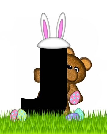 The letter J, in the alphabet set Teddy Easter, is black. Teddy wears an Easter Rabbit costume and hunts Easter Eggs hidden in the grass.