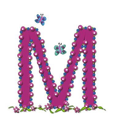 Letter M from Bead Alphabet is deep rose in color.  Letter is outlined completly in pink, blue and green beads and balls.